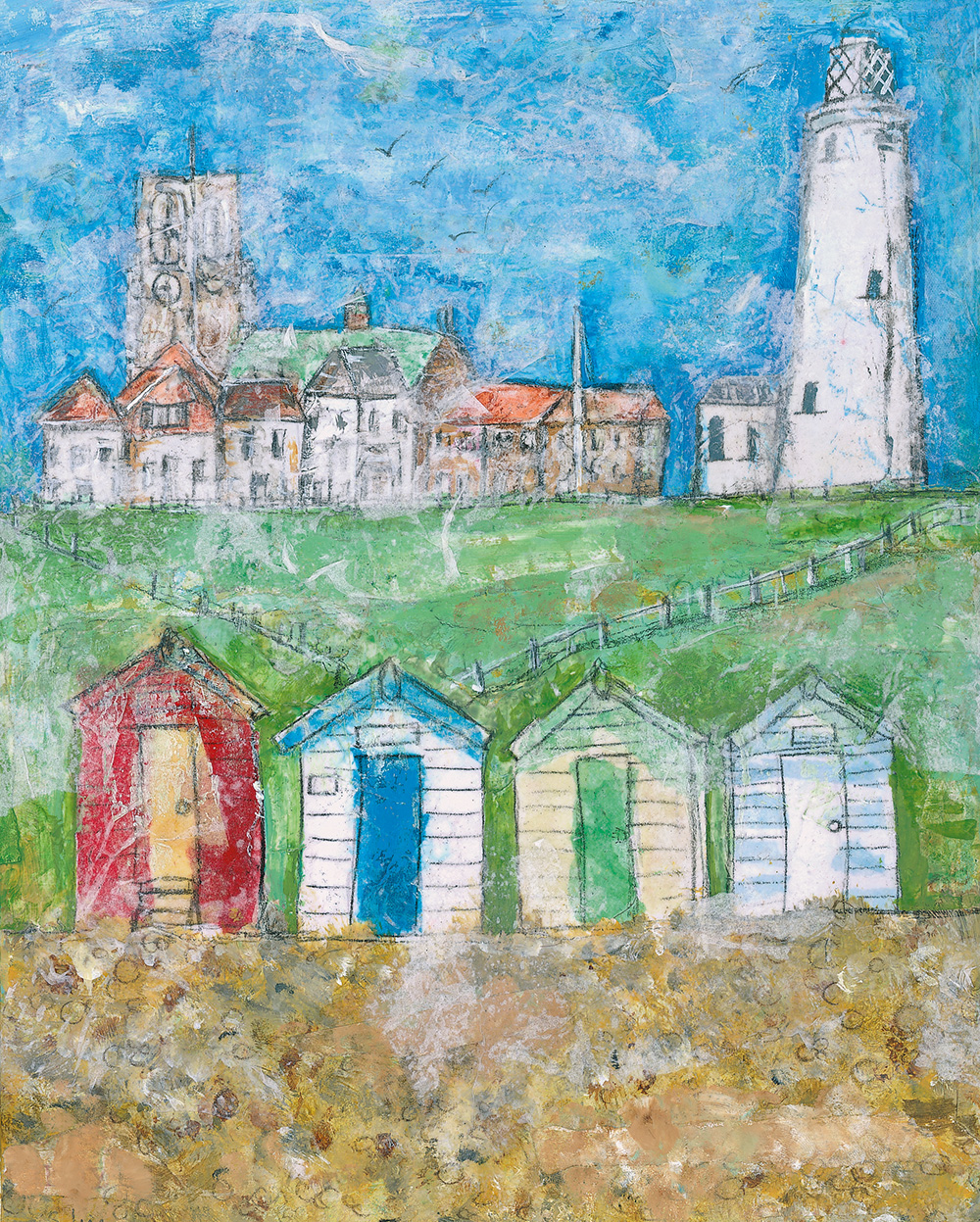 Southwold - Mixed media on canvas (limited edition giclee print available £40 and greeting card £2.50)