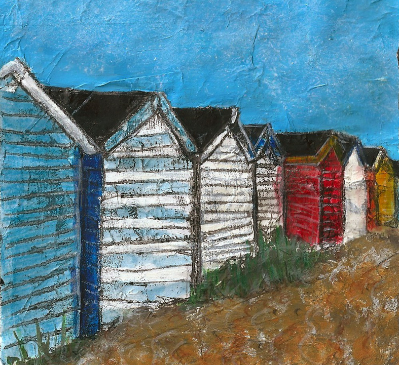 Row of beach huts at Southwold - Mixed media on paper