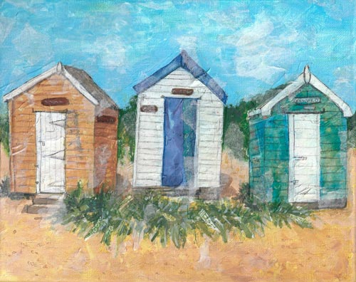 Three Huts - mixed media on canvas (Limited edition giclee print available - Large £75, Small £45 and greeting card £2.50))