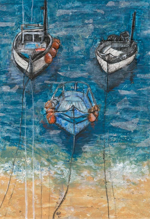 Three Boats - mixed media on paper (Limited edition giclee print available £90 and greeting card £2.50)