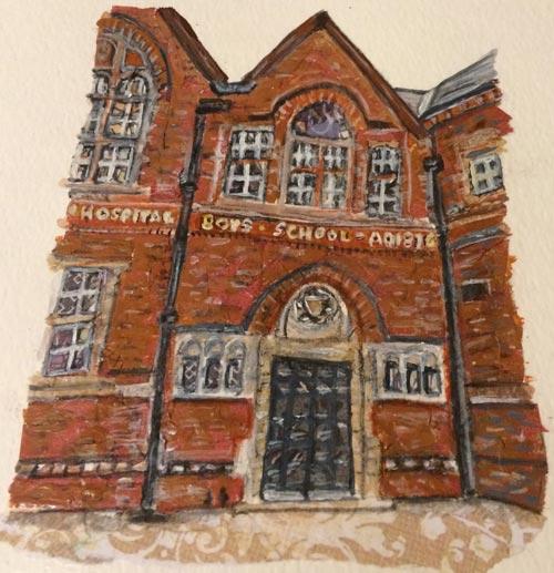 Wyggeston Hospital Boys School - Mixed media on paper