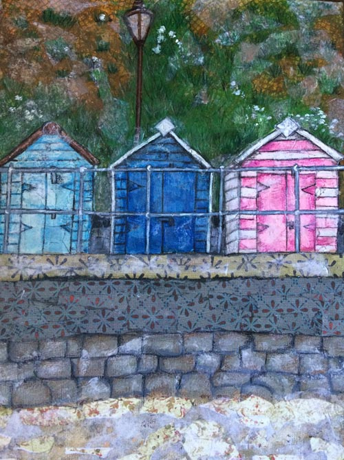Seaton beach huts - Mixed media on canvas