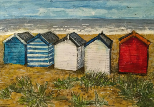 Commission - Southwold beach Huts - Mixed media on paper