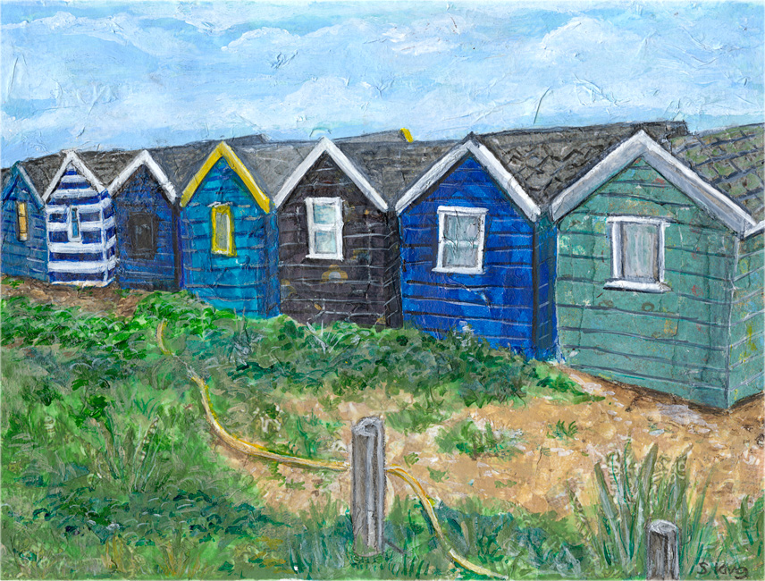 Blue Beach Huts - mixed media on paper (Limited edition giclee print available £40)