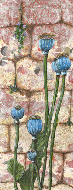 Poppy Pods - Mixed media on canvas (Limited edition giclee print available £65)