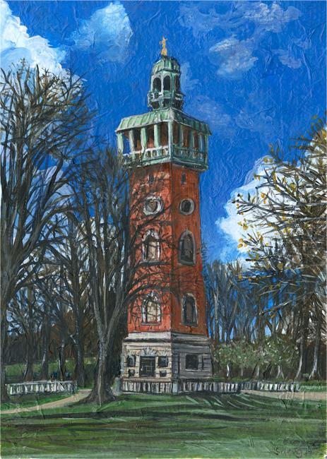 The Carillon, Loughborough - Mixed media on paper (Giclée open edition print available £22.50)