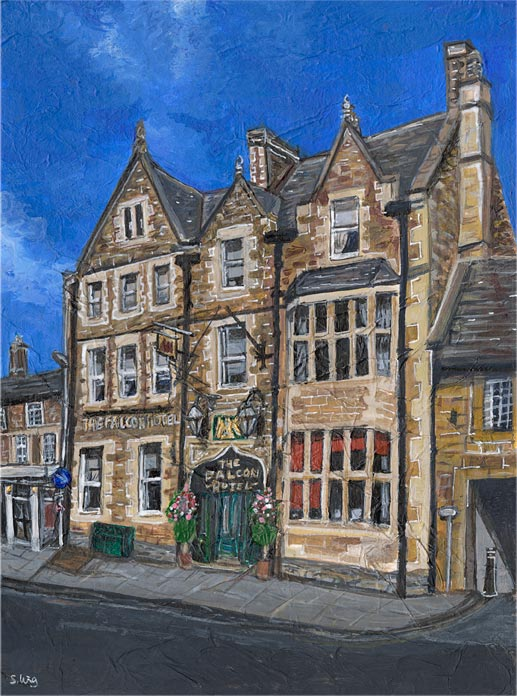 The Falcon Hotel, Uppingham - Mixed media on paper (limited edition giclée print available £55)