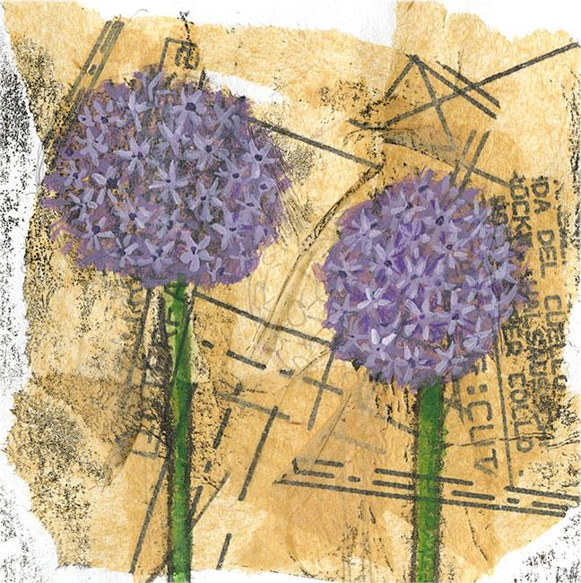 Alliums - Mixed media on paper (Open edition gicleé print available £18.50 and greeting card £2.50)