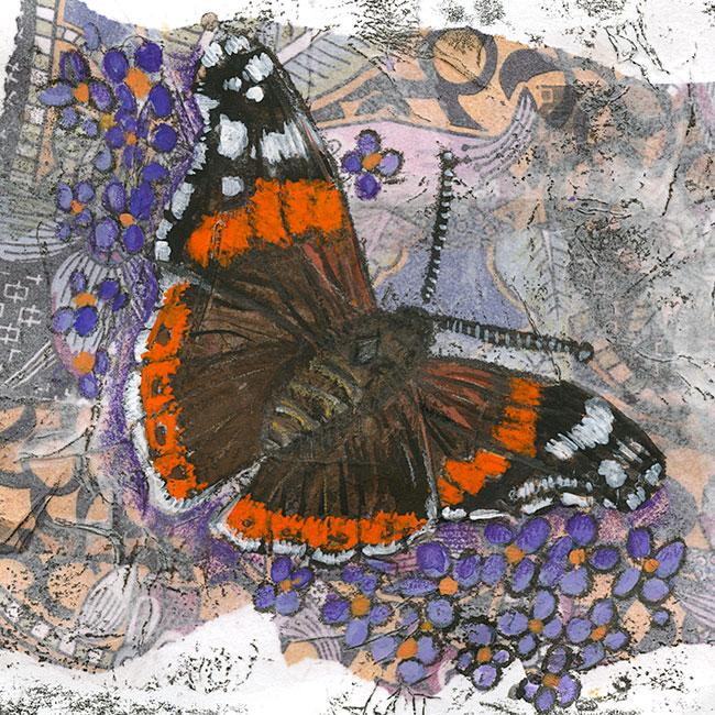 Red Admiral - Mixed media on paper (Open edition gicleé print avaliable £18.50 and greeting card £2.50)
