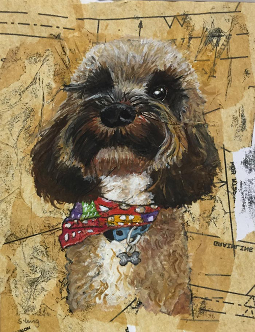 Commission - Bailey - Mixed media on paper