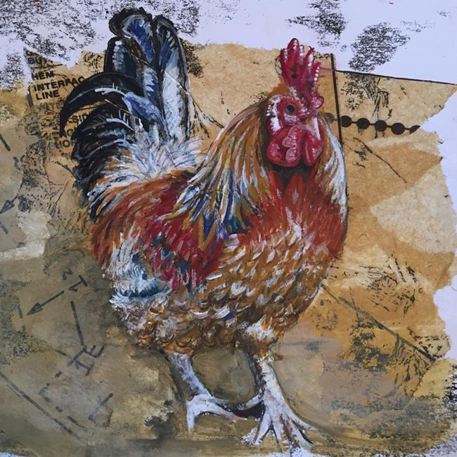 Cockerel - Mixed media on paper (Framed original available from 'The Eyebrook Gallery', Uppingham)