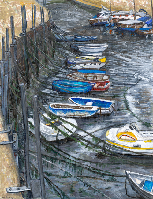 Lyme Regis Harbour - Mixed media on paper (Limited edition giclee print available £60)