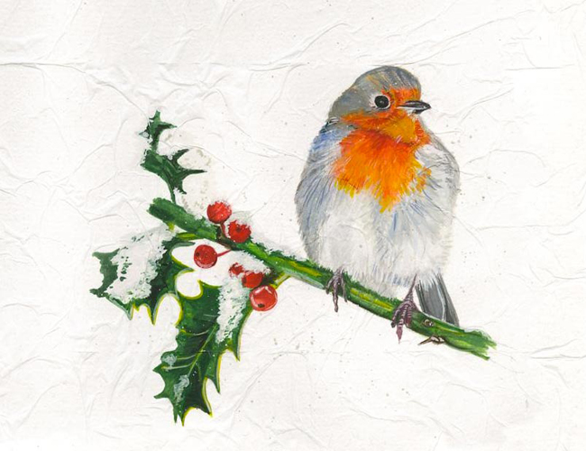'Robin and holly' - Mixed media on paper (Open edition giclée prints available £22.50 and greeting cards £3.00)