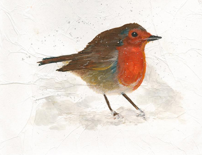 'Robin' - Mixed media on paper (Open edition giclée prints available £22.50 and greeting cards £3.00)