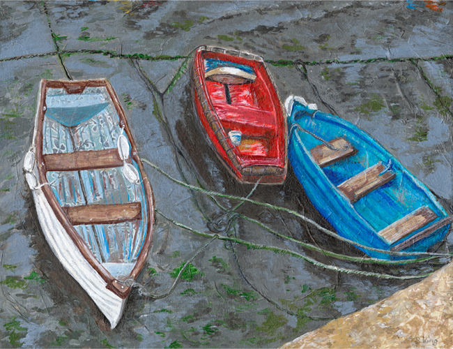 Three Coloured Boats - mixed media on canvas (Limited edition giclee print available £60 and greeting card £2.50))