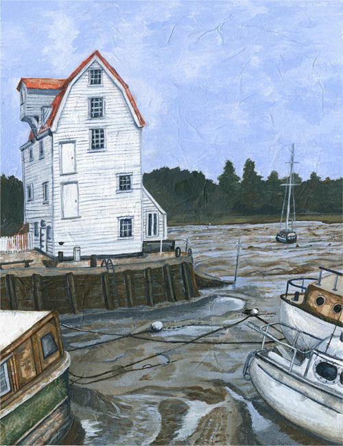 Woodbridge Tide Mill - mixed emdia on canvas board (Limited edition giclee print available £60)