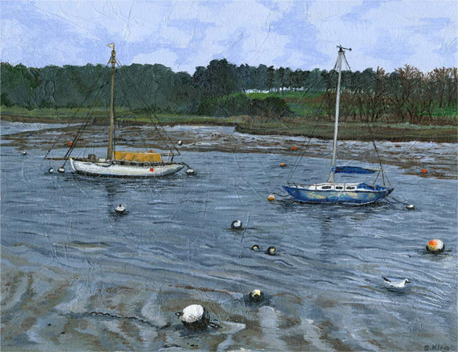 Woobridge Two Boats - Mixed media on canvas board (Limited edition giclee print available £60)