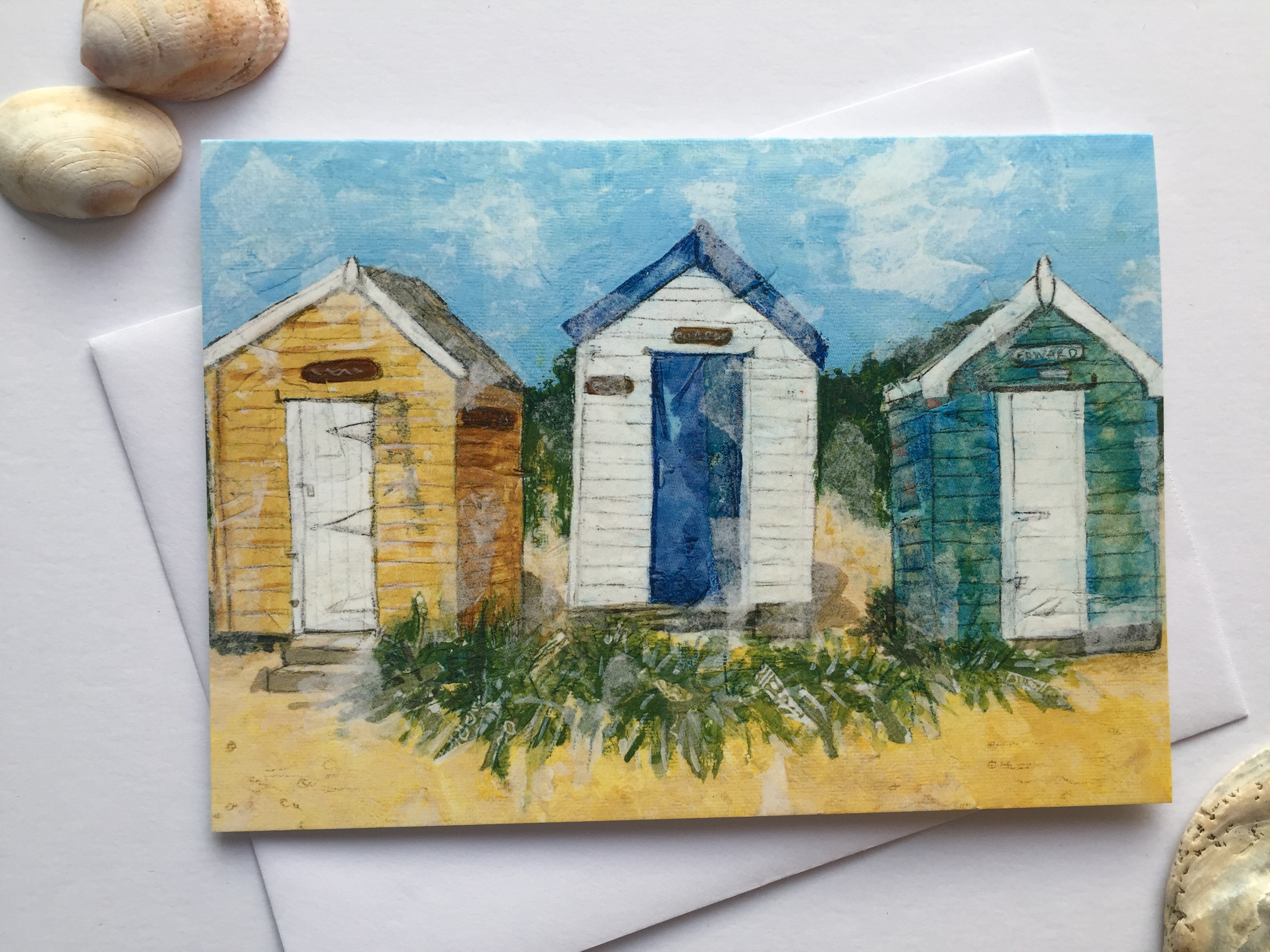 'Three Huts' Greeting Card
