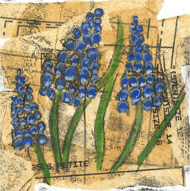 Grape Hyacinths - Mixed media on paper (Open edition gicleé print available £18.50 and greeting card £2.50)