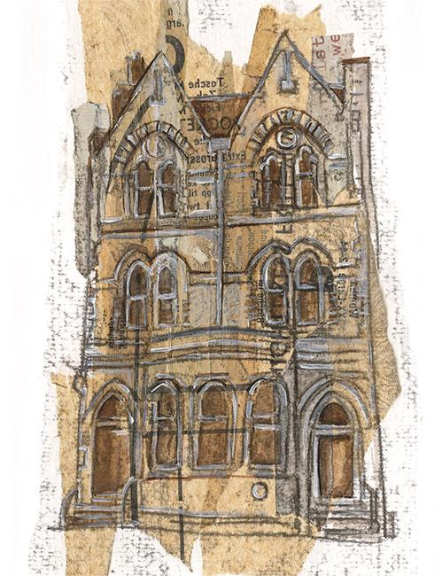Catherwood House, Market Harborough - Mixed media on paper (open edition giclée print available £45)