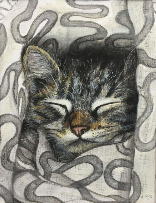 Commission - Keith the kitten - Pencil and acrylic on paper