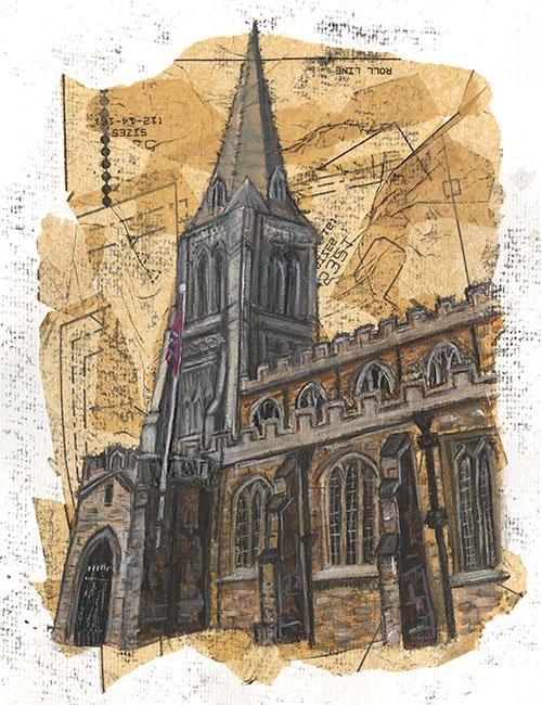 St Dionysius, Market Harborough - Mixed media on paper
