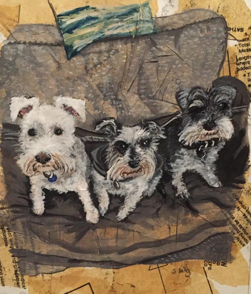 Commision - Louises Three Schnauzers- Mixed media on paper