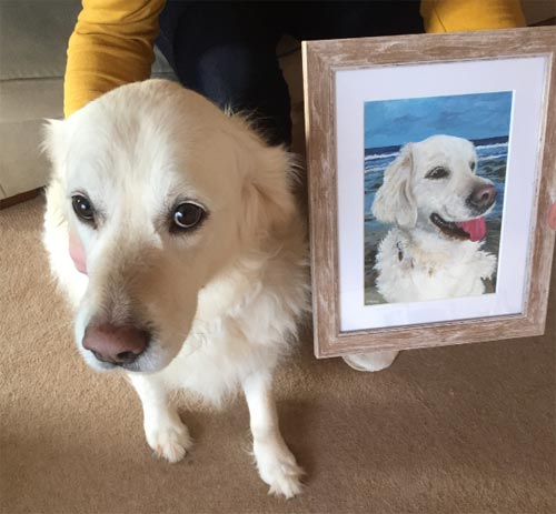 Millie with her portrait
