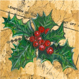 Holly - Mixed media on paper (Greeting card £2.50)