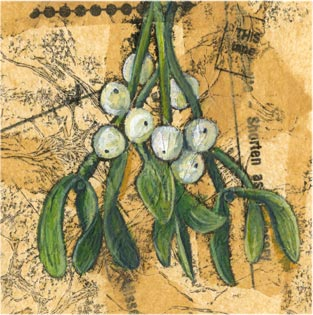 Mistletoe - Mixed media on paper (Greeting card £2.50)