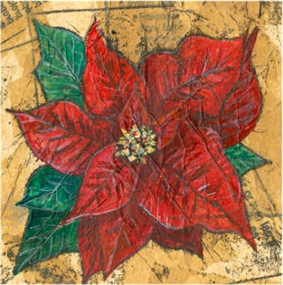Poinsettia - Mixed media on paper (Greeting card £2.50)