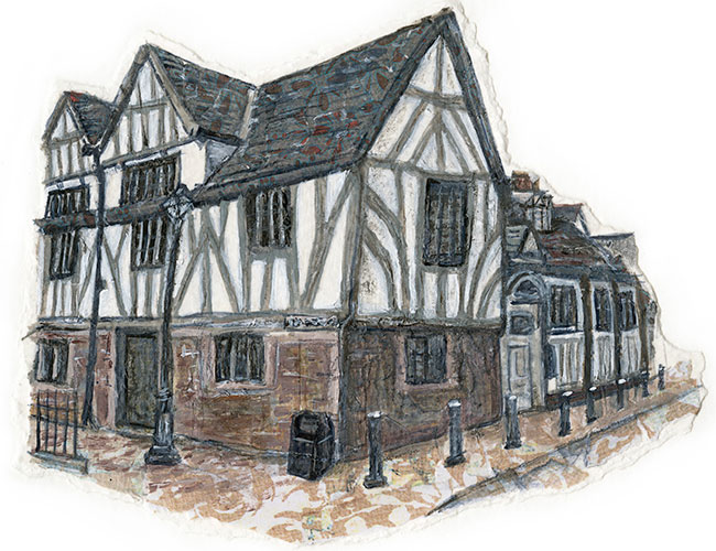 Guildhall, Leicester - Mixed media on paper