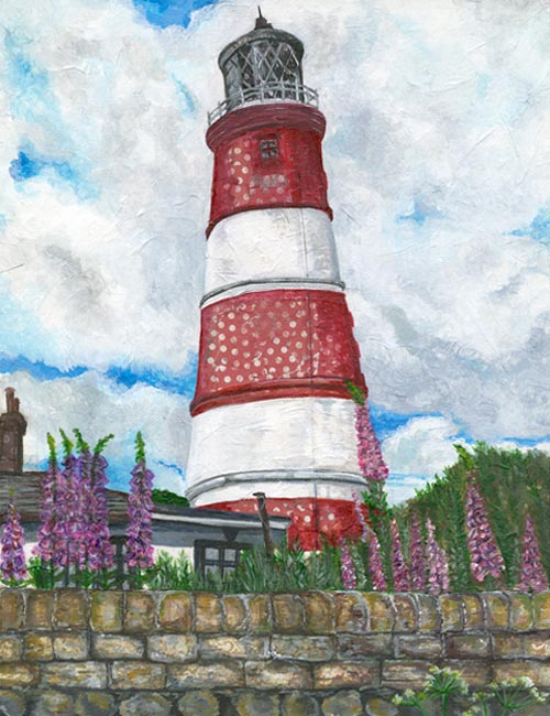 Happisburgh Lighthouse - Mixed media on canvas (Limited edition giclee print avaliable £55 and greeting card £2.50)