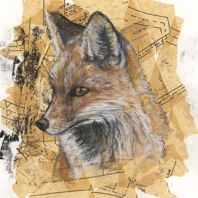 Fox - mixed media (Open edition giclée prints available £18.50)