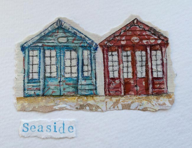 Seaside (2 huts) - collage on paper