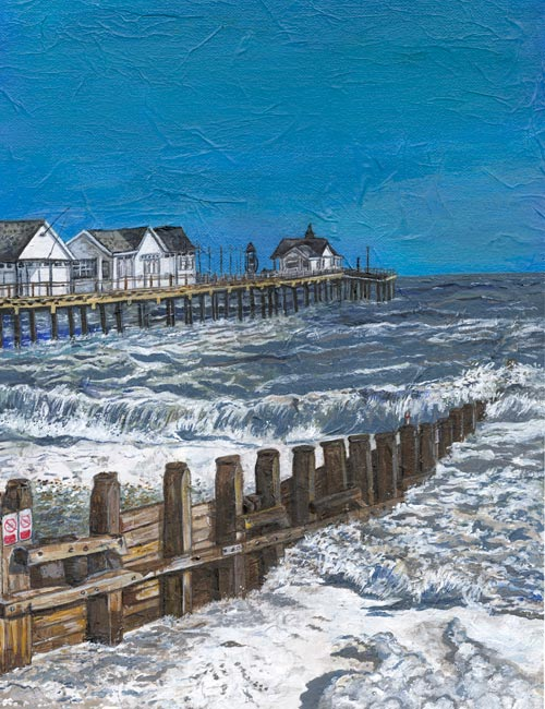 Southwold Pier - Mixed media on canvas (Limited edition giclee print available £75 and greeting card £2.50)