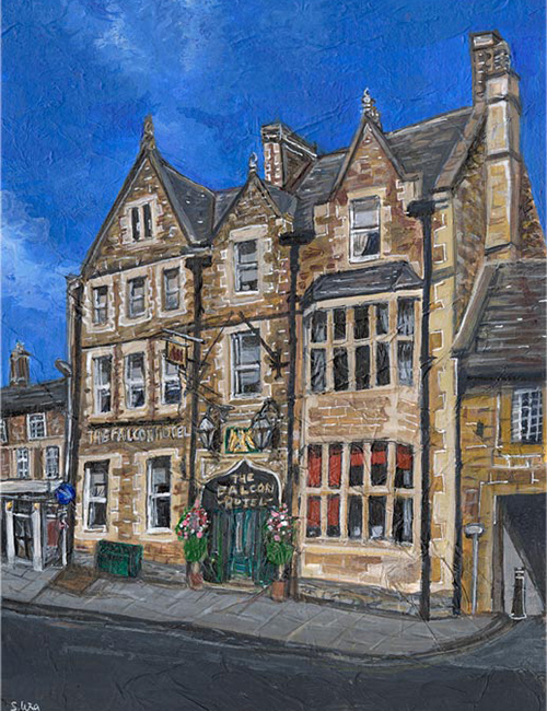 The Falcon Hotel, Uppingham - Mixed media on paper