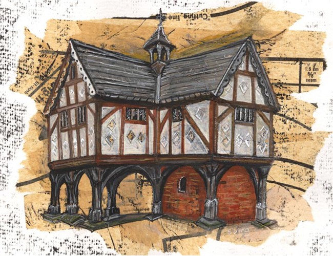 The Old Grammar School, Market Harborough - Mixed media on paper