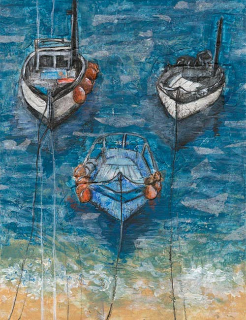 Three Boats - mixed media on paper (Orignal frame canvas avaliable £180, Limited edition giclee print available £75 and greeting card £2.50)