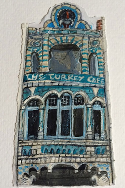 Turkey Cafe, Leicester - Mixed media on paper