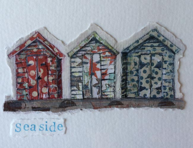 Seaside (3 huts) - Collage on paper