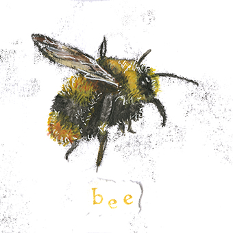 Bee 4 - monoprint on paper (open edition prints avaliable)